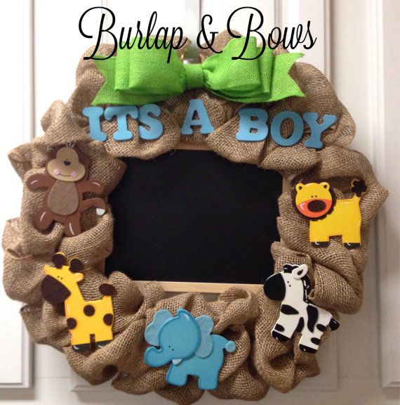 Safari theme wreath baby shower wreath baby by TheLittleChandelier