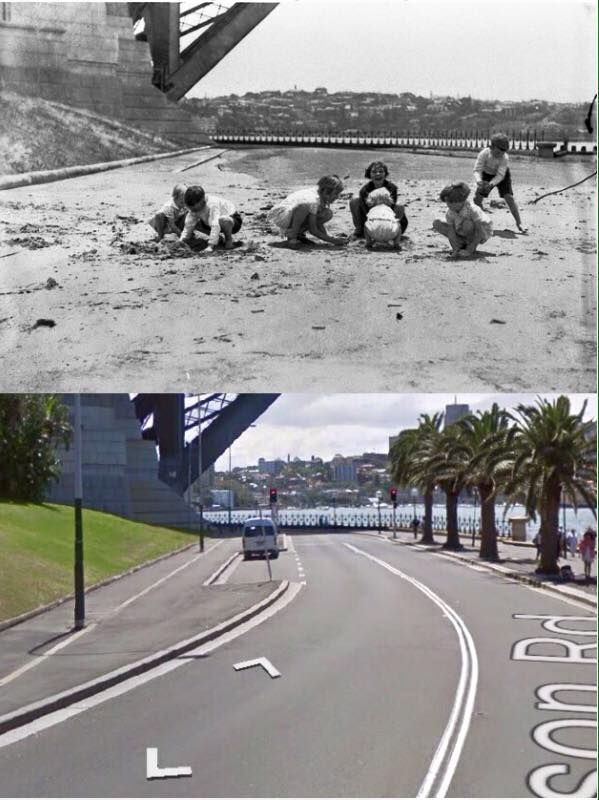 Children playing on Hickson Road, Dawes Point in the 1930's and the same view in 2014. [1930's - State Library of NSW/Ted Hood>2014 - Google Street View. By Phil Harvey]