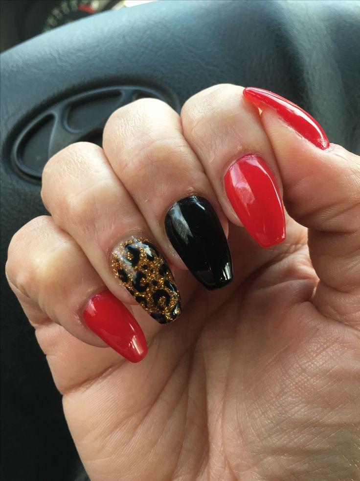 Panterprint nagels, rood, zwart