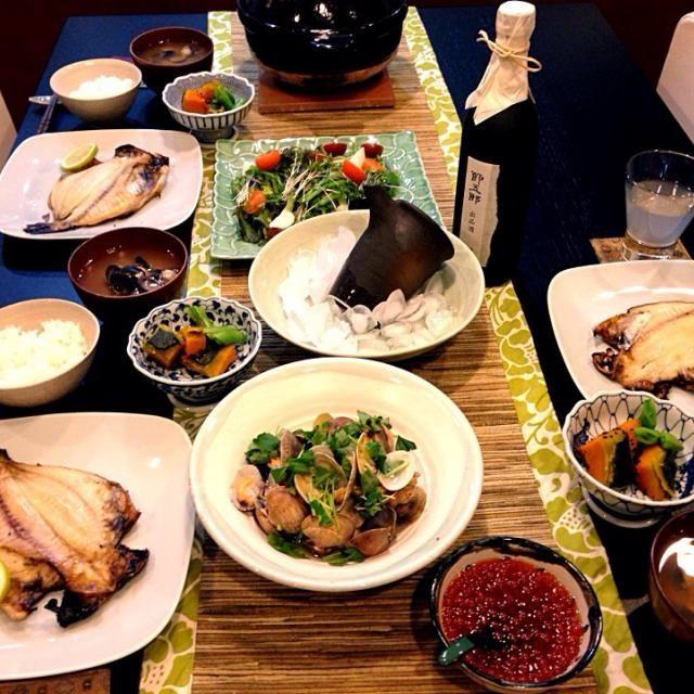 えぼ鯛の干物,アサリの酒蒸し,南瓜の煮物,野菜たっぷりサラダ,シジミ汁 - 12件のもぐもぐ - 今日の晩御飯✨ by ryotaママ