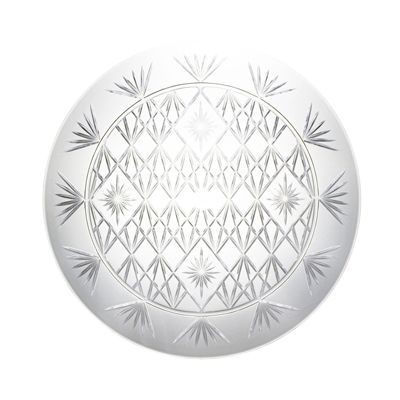 Medium Clear Plastic Diamond-Cut Round Serving Tray