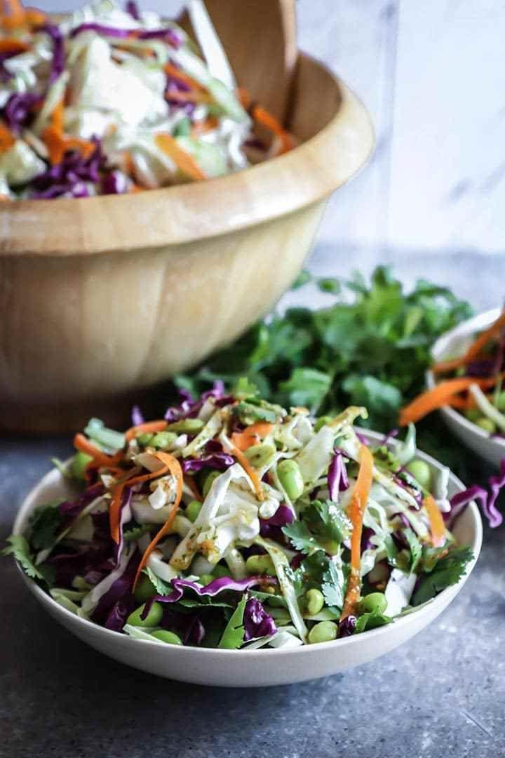 Miso Ginger Edamame Slaw - Fresh Vegan Coleslaw with an Asian Twist!