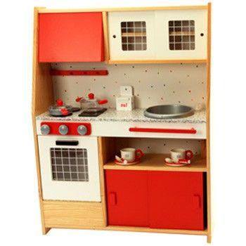 Cocina infantil de madera roja en el pa s de los juguetes for Cocina juguete imaginarium