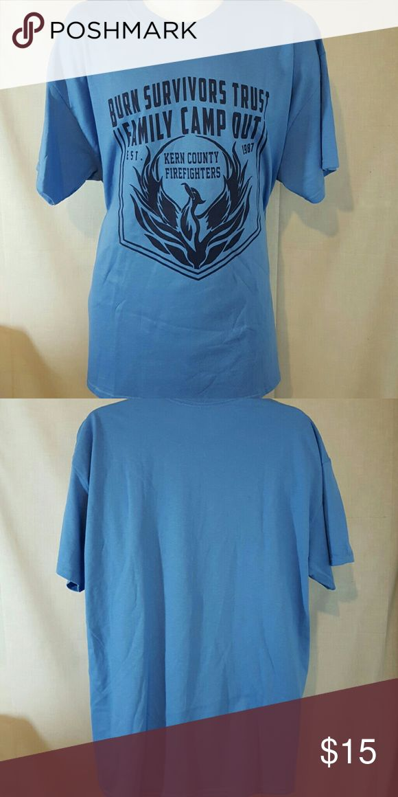 """Kern County firefighters blue XL tshirt Good condition. Measures 24"""" across chest and 32"""" long from top mid shoulder to bottom hem Shirts Tees - Short Sleeve"""