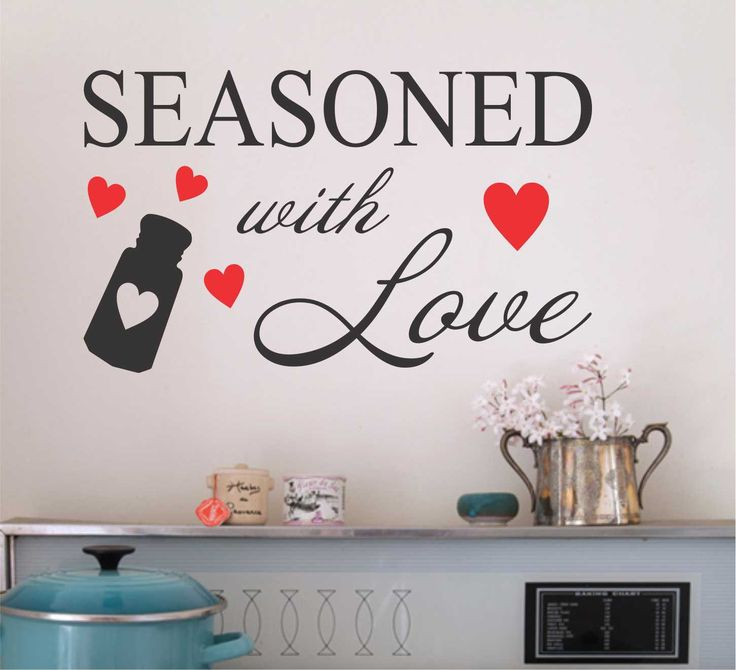 Vinyl Wall Quotes Kitchen Lettering Seasoned with Love Red Hearts Salt Shaker