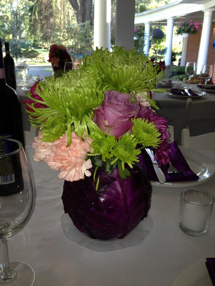 Centerpiece with purple cabbage pinterest