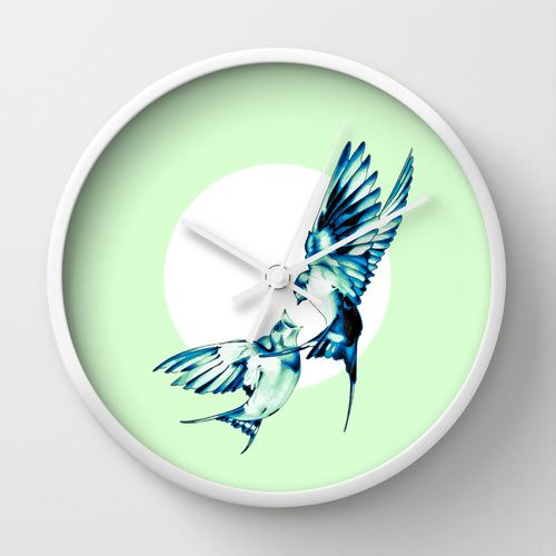 Birds Wall Clock by Nuam | Society6 ☀ ☀ ☀    #Bird, #Vector, #Swallow, #Spring, #Nature, #Birds, #Animal, #Animals, #Illustration, #Love, #Family, #Trust, #Feed, #Food, #Hipster, #Swallows, #Care, #Fly, #Spring, #Wings, #TwoBirds, #Romantic, #Bohemian, #Fly, #Flying #FlyingBird, #FlyingBirds #Decorative #homedecor #wallclock #mint #white #clock #decorativeclock