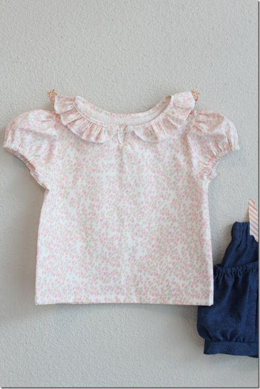 Ruffled Collar Shirt by the Crafty Cupboard -- free pattern for girls size 12-18 mos.