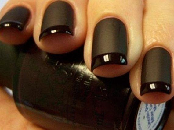 unghie nere lucide e opache | Contrast Nail art: unghie con smalti opachi e lucidi - Beautydea