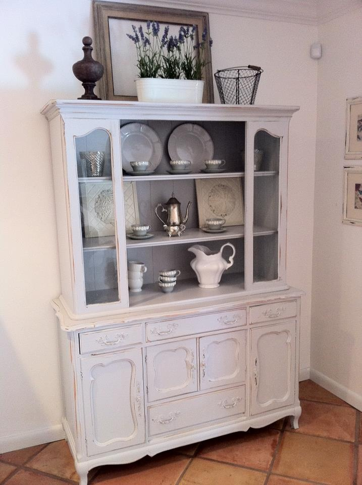 White Hutch With Gray Inside