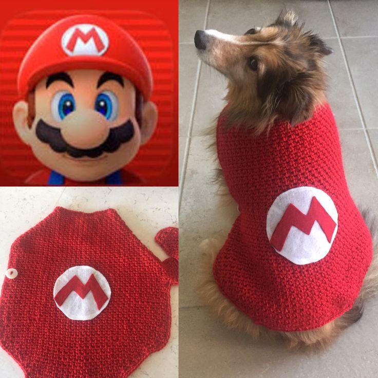 Super Mario Dog Sweater, Super Mario, Dog Sweater, Super Mario Pet Costume, Super Mario Dog, Nintendo, Mario Bros, Yoshi, Mario, costume by TheHookster on Etsy