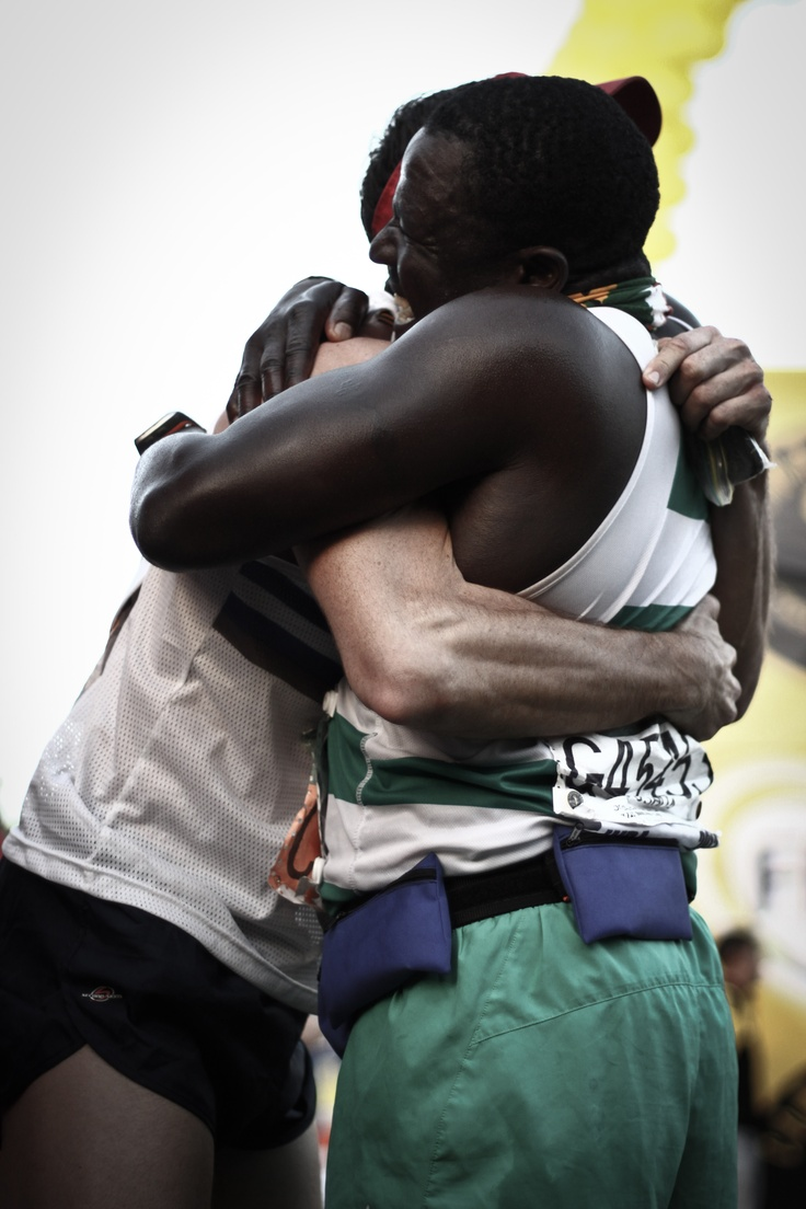 Special moment with a special friend as he crossed the finishing line at Comrades 2012