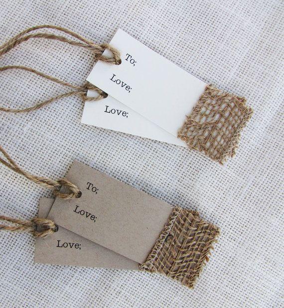 Rustic Burlap Twine Wedding Anniversary Bridal Shower Favor Tag