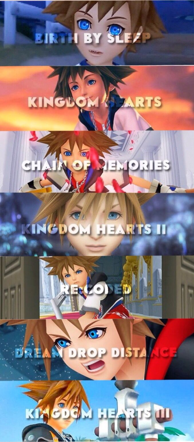 Sora throughout the Kingdom Hearts series.