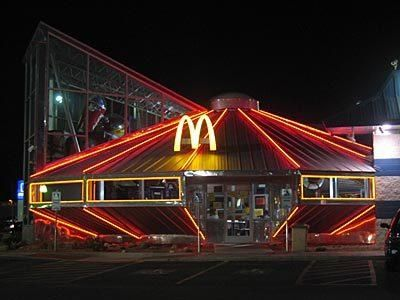 The downtown McDonald's in Roswell New Mexico at night. The only ufo themed McDonalds in the world.