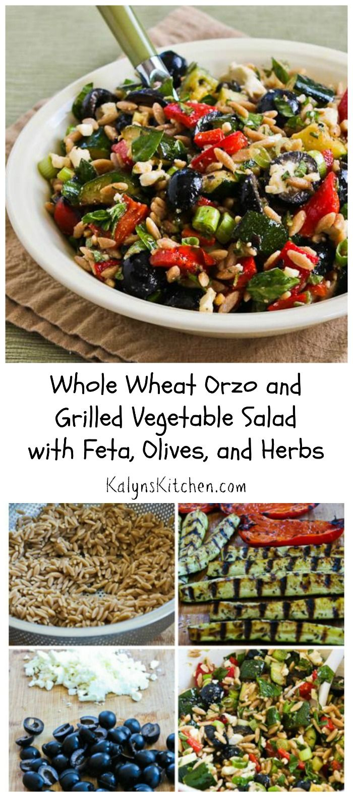 I love this Whole Wheat Orzo and Grilled Vegetable Salad with Feta, Olives, and Herbs.  I use less orzo and more vegetables, cheese, and herbs for a lower-carb pasta salad with all the flavors of summer.  This would be a hit at any summer party or as a side dish for grilled chicken or fish. Use brown rice for a gluten-free version. [from KalynsKitchen.com]
