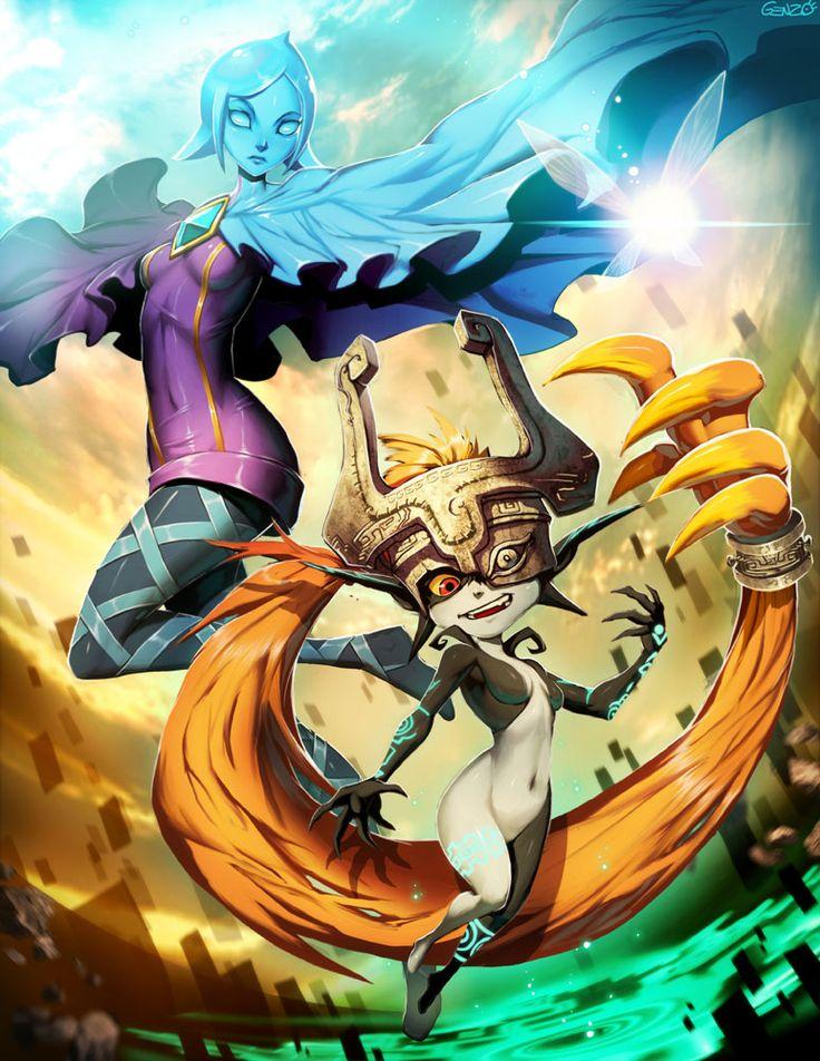 Fi (Skyward Sword), Navi the fairy (Ocarina of Time), and Midna (Twilight Princess) - The Legend of Zelda; fan art