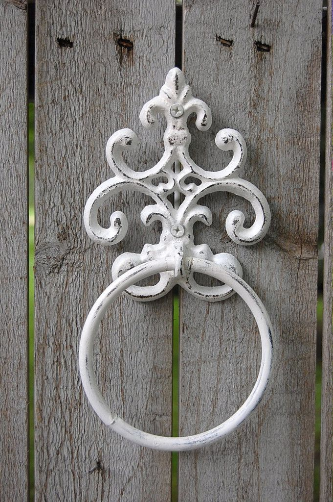 White shabby chic towel ring