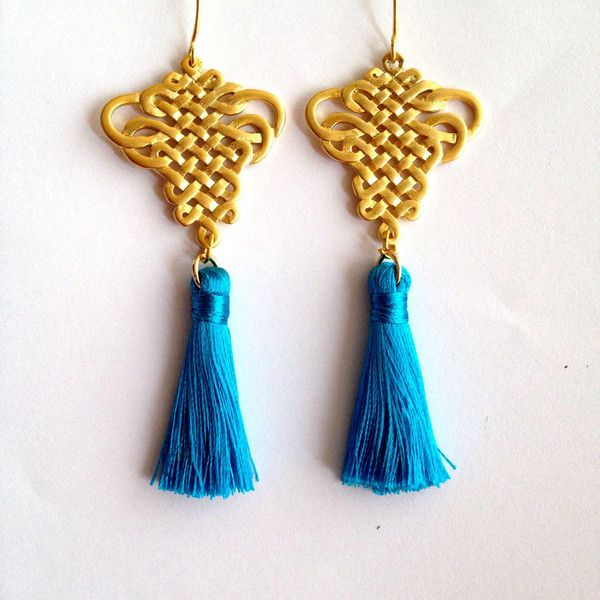 Feng shui Lucky Knots Tassels Infinity Knot Gold Plated Brass... ($33) ❤ liked on Polyvore featuring jewelry and earrings