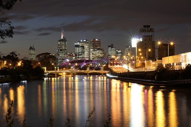 Beautiful capture in Melbourne at night.