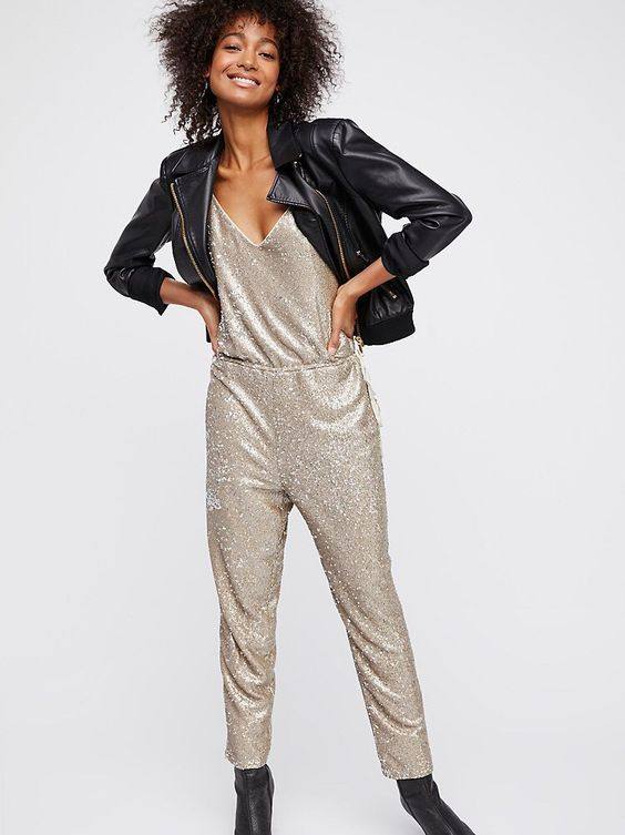 New Free People Sequin Pantsuit M Medium Gold Sequin Jumpsuit Romper