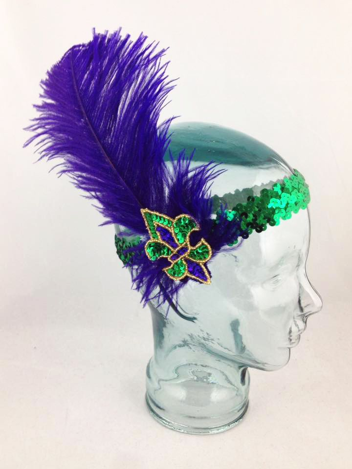 Mardi Gras Flapper Headband with Feather, Purple