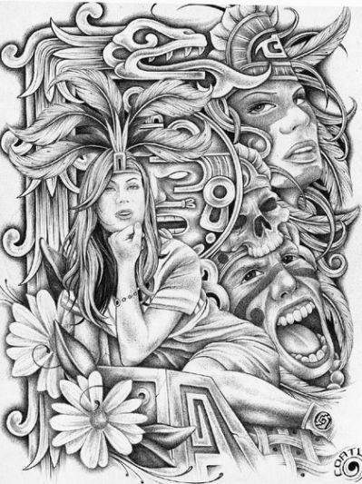 aztec murals coloring pages - photo#45