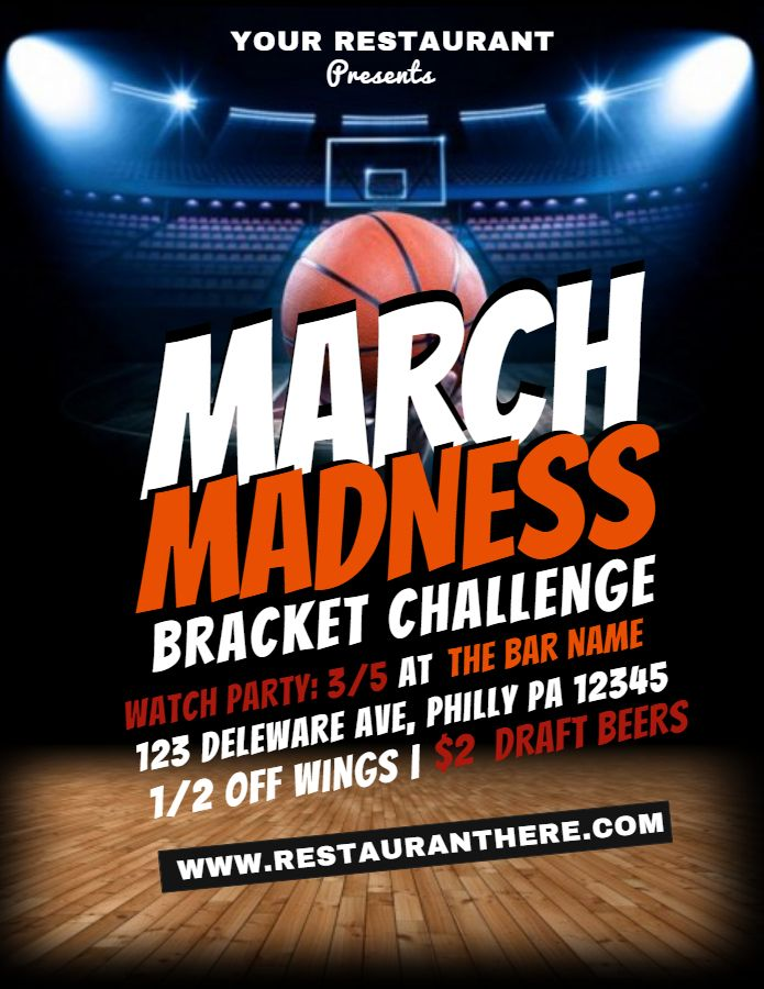 March Madness Basketball Flyer Template March Madness Bracket Challenge Sport Poster March Madness