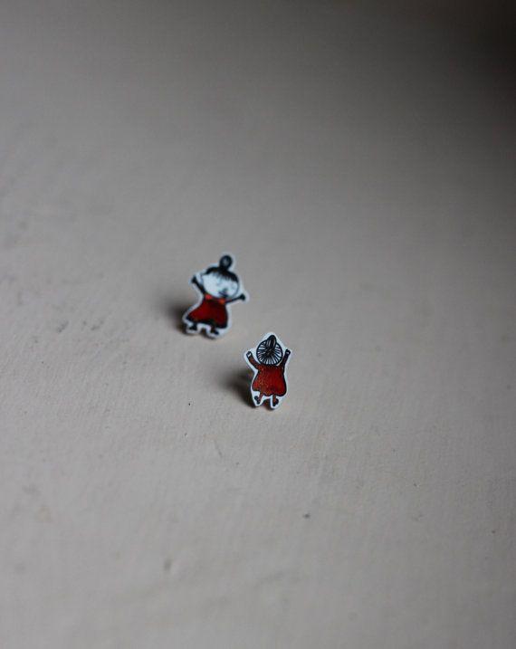 FLASH SALE Hand illustrated Moomins 'Crazy Little My' stud earrings