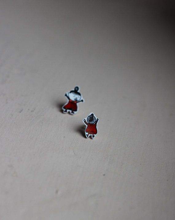 FLASH SALE Hand illustrated Moomins 'Crazy Little My' stud earrings