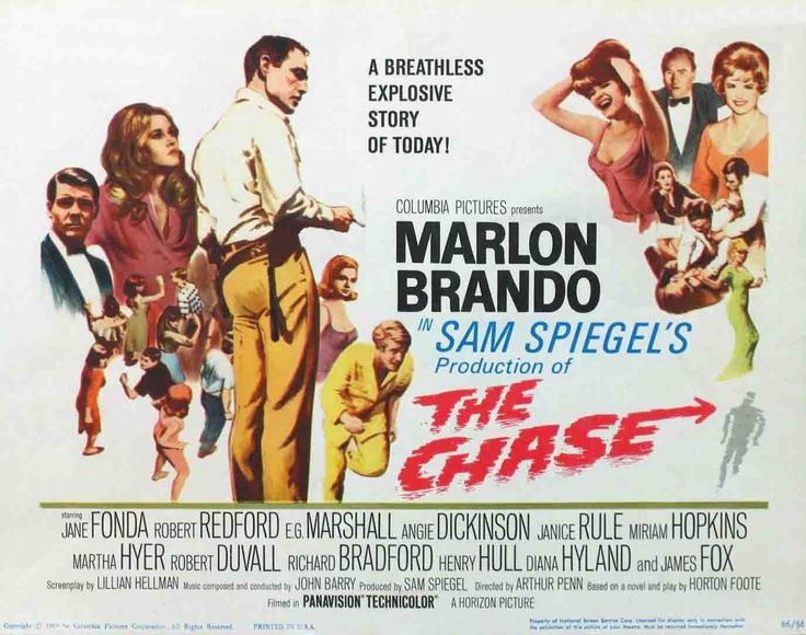 """The Chase is a 1966 American drama film, directed by Arthur Penn and starring Marlon Brando, Jane Fonda, Angie Dickinson, Robert Duvall and Robert Redford, about a series of events set into motion by a prison break. Because one of the two escapees is Charlie """"Bubber"""" Reeves, wrongly assumed to be responsible for a murder, the escape causes a stir in a nearby town where Bubber is a well-known figure.  http://en.wikipedia.org/wiki/The_Chase_(1966_film)"""