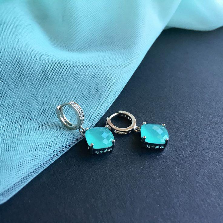 Drop earrings, glass cubes, mint earrings by Yvolga on Etsy https://www.etsy.com/listing/385274678/drop-earrings-glass-cubes-mint-earrings