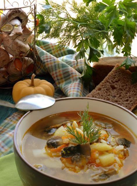 Суп овощной с шампиньонами и рисом в скороварке