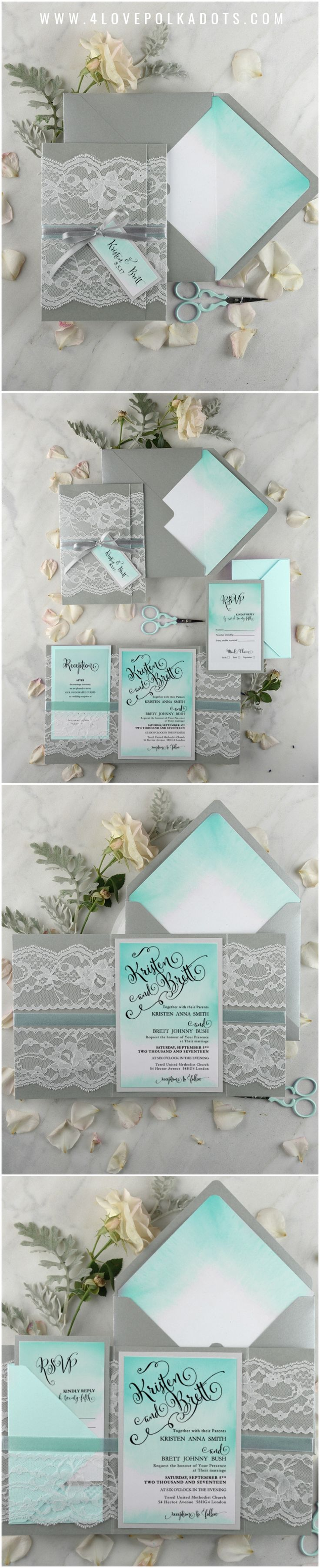 Tiffany blue lace ombre wedding invitation #ombre #romantic #lace #weddinginvitations #weddingideas #tiffanyblue #turquoise