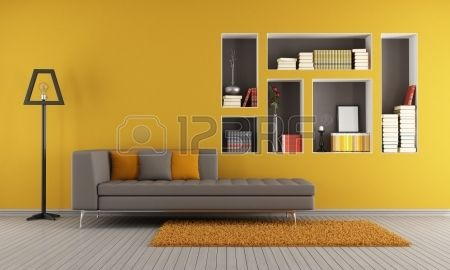 Kleurrijke woonkamer met een bank en nissen gebruikt als een boekenkast - rendering photo
