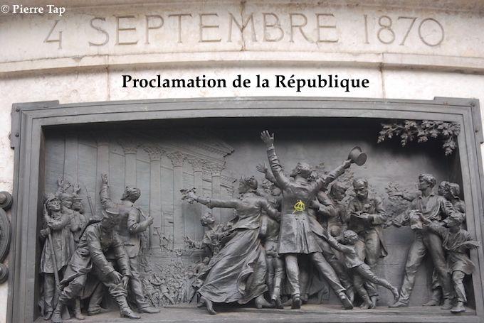 A la gloire de la République française (place de la République) Dates importantes de la République A la gloire de la République française (place de la République) Dates importantes de la République  4 Septembre 1870 Proclamation de la République