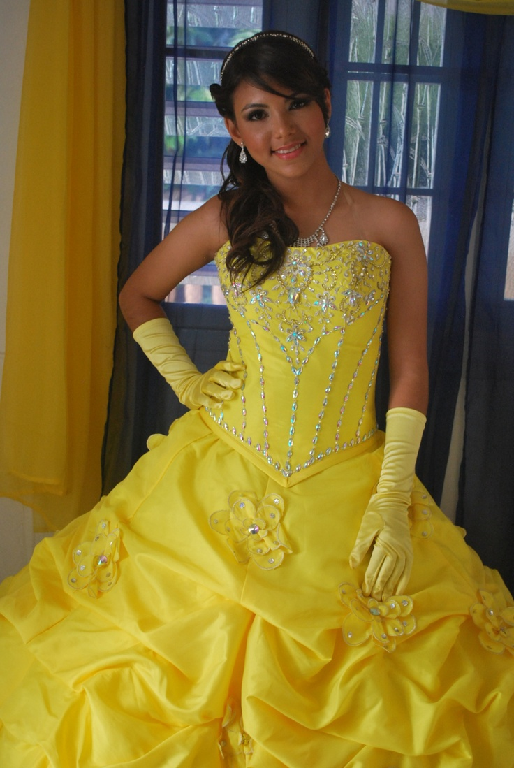 Yellow dress like belle   best images about Quinceañeros on Pinterest  Colors Sun and Belle