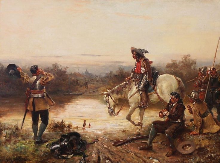 Cavaliers greeting a Roundhead sentry by the river ...