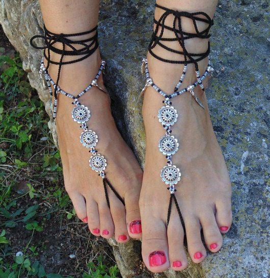 Feater mandala barefoot sandalen met voet juwelen Hippie