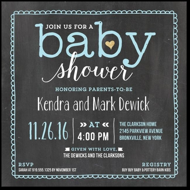 Chalkboard baby boy shower invitation