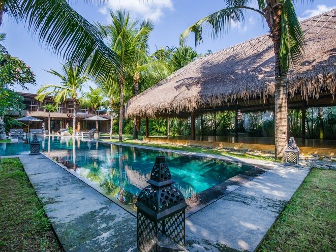 Villa Yoga | 7 bedrooms with 5, 6, 7 rental option | Seminyak, Bali #swimmingpool #tropical #garden #modern #villa #exterior #bali #holiday #family #friends #retreat