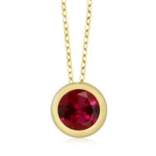 Beautiful red ruby pendant in 14K yellow gold ... elegant for casual or evening        Free Shipping