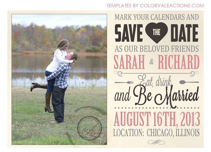 The Best Engagement Photos Images On Pinterest Invitation - Free save the date templates photoshop