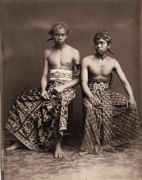 "Two young men from Yogyakarta, 1890-1910, from ""FIVE CENTURIES OF INDONESIAN TEXTILES."""