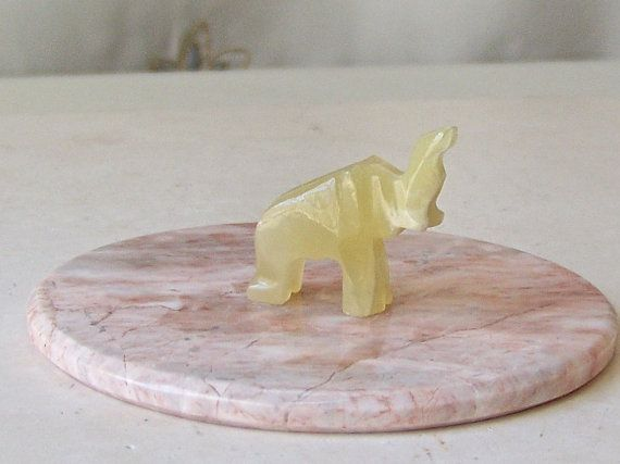Vintage Elephant Hand Carved Yellow Onyx by CynthiasAttic on Etsy