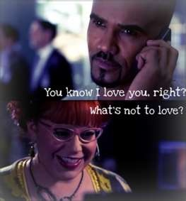 "✯SHEMAR MOORE with his ""Baby Girl"" Penelope Garcia, aka Kirsten Vangsness✯  yes Derek, we luv you too!  lol luv these two!"