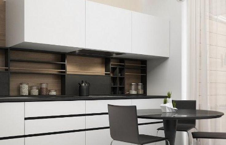 Черно-белая кухня в стиле модерн