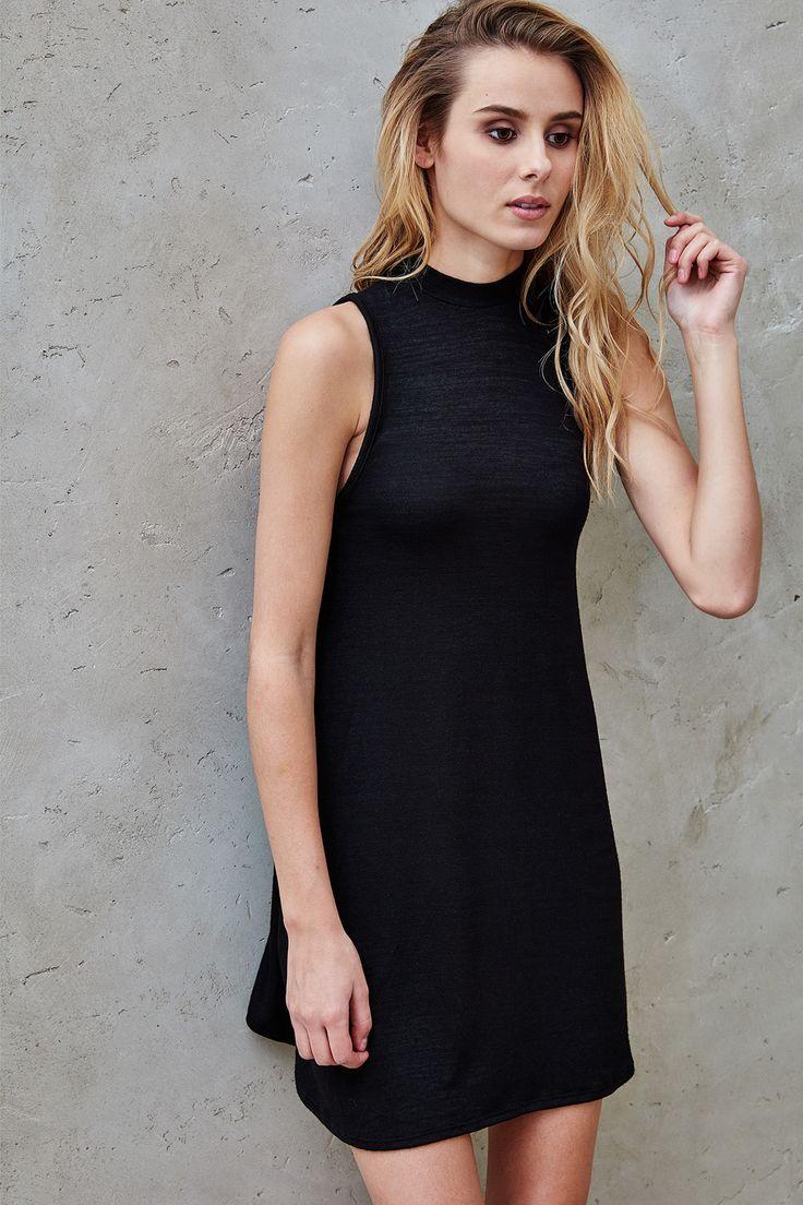 Planet black lace panel dress