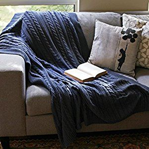 Amazon.com: Viverano Pure Organic Cotton Cable Knit Throw Blanket, 50x70, Soft, Non-Toxic (Navy Blue): Home & Kitchen