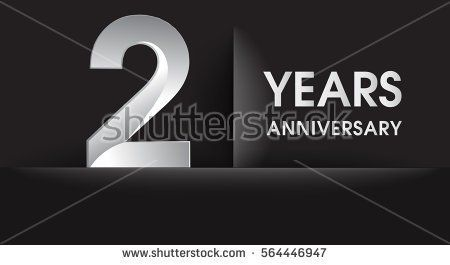 two years Anniversary celebration logo, flat design isolated on black background, vector elements for banner, invitation card for celebrating 2nd birthday party